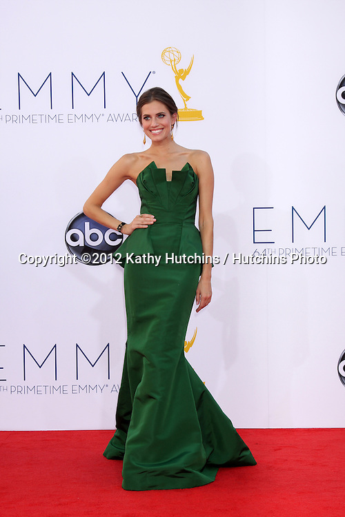 LOS ANGELES - SEP 23:  Allison Williams arrives at the 2012 Emmy Awards at Nokia Theater on September 23, 2012 in Los Angeles, CA