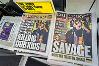 New York newspapers all use the same photograph, with different cropping, on their covers on Tuesday, May 23, 2017 to report on the previous days' terrorist attack after an Ariana Grande concert in Manchester Arena in the UK. (© Richard B. Levine)