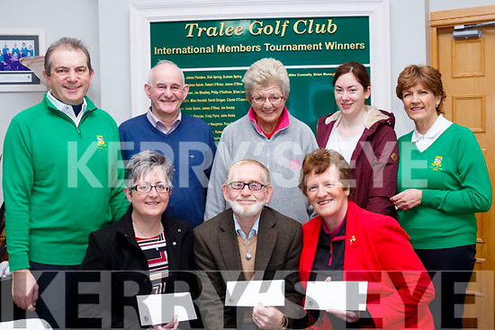 Seated L-R Breda Dyland, Kerry/Cork link bus, Harry McDaid, KSPCA and Philomena Stack, Recovery haven, Tralee were the chosen charities from JJ Young, back 2nd Lt, who retired recently as head green keeper at Tralee golf club in which the money was collected at his retirement dinner, also pictured last Sunday at the club house were L-R Kevin McCarthy, JJ Young, Margaret Cahill, Trish Kelly and Margaret O'Shea.
