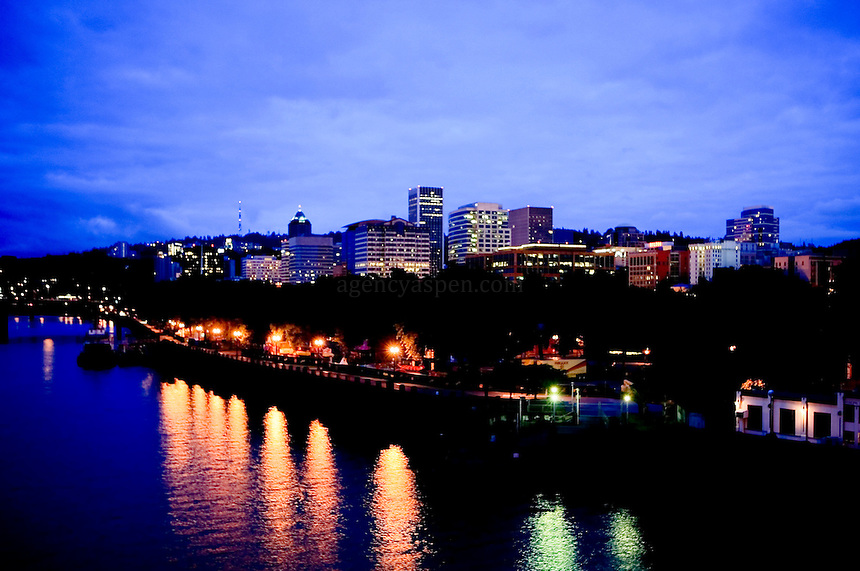 View of Portland from the Burnside Bridge early morning.