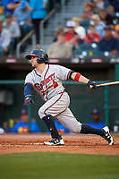 Gwinnett Braves shortstop Sean Kazmar (4) at bat during a game against the Buffalo Bisons on August 19, 2017 at Coca-Cola Field in Buffalo, New York.  Gwinnett defeated Buffalo 1-0.  (Mike Janes/Four Seam Images)