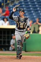 Tampa Yankees catcher Trent Garrison (11) backs up a play during a game against the Clearwater Threshers on June 26, 2014 at Bright House Field in Clearwater, Florida.  Clearwater defeated Tampa 4-3.  (Mike Janes/Four Seam Images)