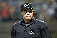 Home plate umpire Colin Baron during the Appalachian League game between the Princeton Rays and the Pulaski Yankees at Calfee Park on July 14, 2018 in Pulaski, Virginia. The Rays defeated the Yankees 13-1.  (Brian Westerholt/Four Seam Images)