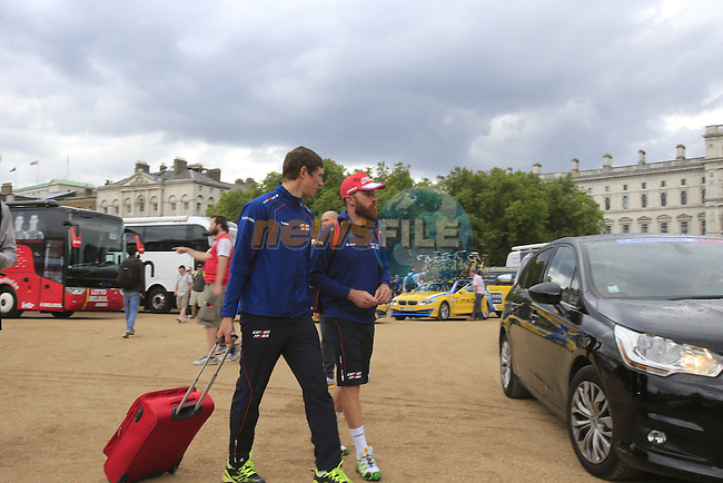 Katusha riders leave Horseguard Parade and head for the airport after Stage 3 of the 2014 Tour de France running 155km from Cambridge to London. 7th July 2014.<br /> Picture: Eoin Clarke www.newsfile.ie