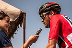 Race leader Greg Van Avermaet (BEL) BMC Racing Team interviewed at sign on before the start of Stage 4 of the 2018 Tour of Oman running 117.5km from Yiti (Al Sifah) to Ministry of Tourism. 16th February 2018.<br /> Picture: ASO/Muscat Municipality/Kare Dehlie Thorstad | Cyclefile<br /> <br /> <br /> All photos usage must carry mandatory copyright credit (&copy; Cyclefile | ASO/Muscat Municipality/Kare Dehlie Thorstad)