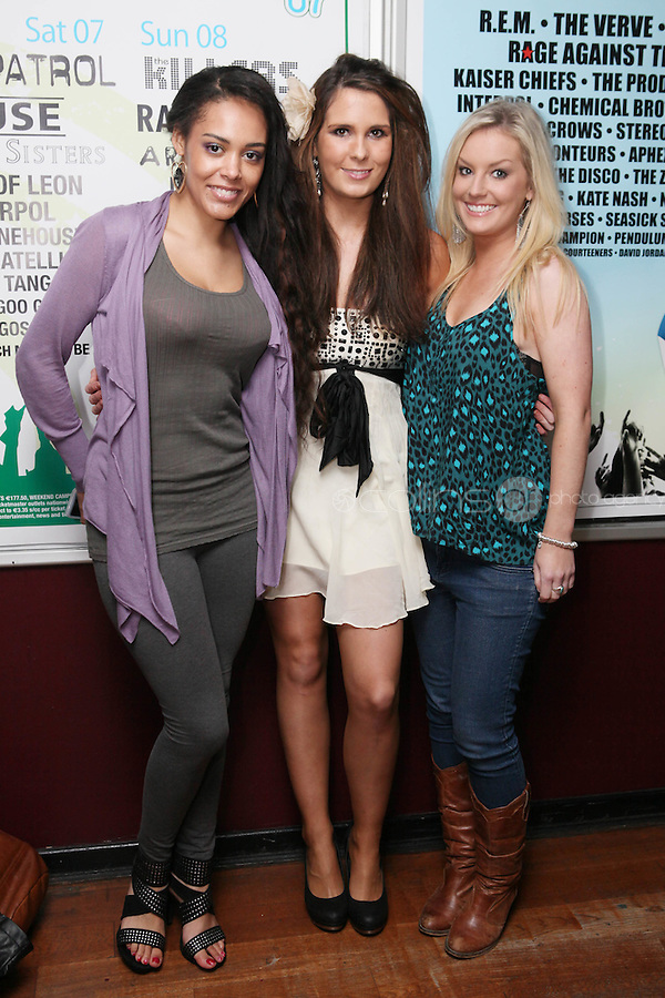 NO REPRO FEE. OXYGEN 2011 LAUNCH. Pictured at the Academy, Dublin for the launch of Oxygen 2011 are Martina Bossede, Daniella Masterson and Kate O Flynn . The three day music festival which takes place July 8th, 9th, 10th at Punchestown Racecourse, Naas, Co Kildare. Picture James Horan/Collins Photos