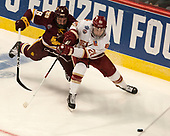 Kyle Osterberg (UMD - 8), Adam Plant (DU - 28) - The University of Denver Pioneers defeated the University of Minnesota Duluth Bulldogs 3-2 to win the national championship on Saturday, April 8, 2017, at the United Center in Chicago, Illinois.