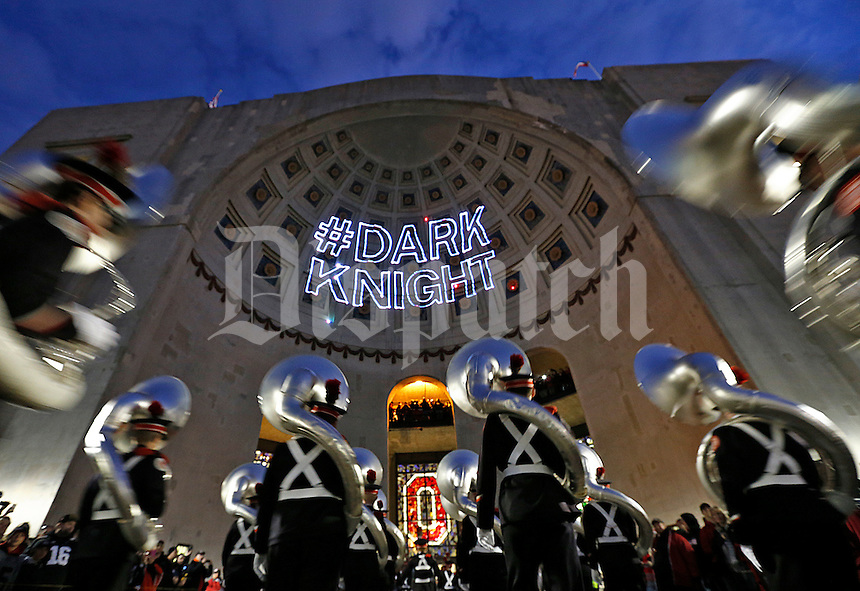 The Ohio State Marching Band enters Ohio Stadium before the start of the game against Penn State on October 17, 2015. (Chris Russell/Dispatch Photo)