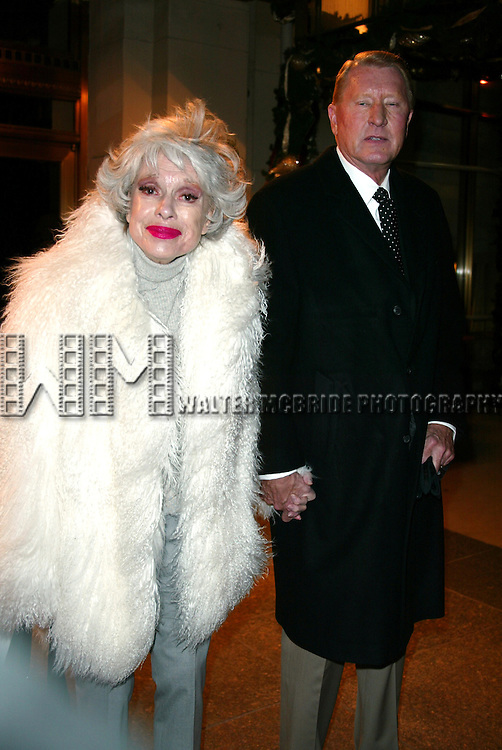 CAROL CHANNING and Date<br /> Leaving the Essex House Hotel for the<br /> premiere of NICHOLAS NICKLEBY at the<br /> Beekman Theatre, New York City.<br /> December 17, 2002