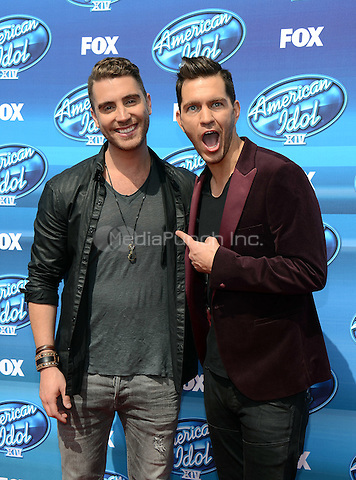 HOLLYWOOD, CA - MAY 13: Nick Fradiani and Andy Grammer arriving at the 2015 American Idol Season 14 Finale at the Dolby Theatre on May 13, 2015 in Hollywood, California. Credit: PGTW/MediaPunch