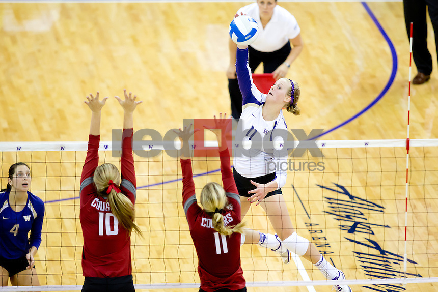 The University of Washington women's volleyball team defeats Washington State University 3-1 at Alaska Airlines Arena on Tuesday September 18, 2012. (Photography By Scott Eklund/Red Box Pictures)