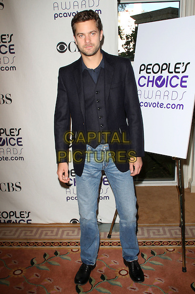JOSHUA JACKSON .People's Choice Awards Nominees Announcement held at The Peninsula Hotel, Beverly Hills, California, USA, .10th November 2008..full length beard facial hair stubble jeans black jacket waistcoat shoes .CAP/ADM/KB.©Kevan Brooks/Admedia/Capital PIctures