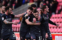 Lincoln City's Shay McCartan, centre celebrates scoring his side's second goal with team-mates<br /> <br /> Photographer Andrew Vaughan/CameraSport<br /> <br /> The EFL Sky Bet League Two - Swindon Town v Lincoln City - Saturday 12th January 2019 - County Ground - Swindon<br /> <br /> World Copyright &copy; 2019 CameraSport. All rights reserved. 43 Linden Ave. Countesthorpe. Leicester. England. LE8 5PG - Tel: +44 (0) 116 277 4147 - admin@camerasport.com - www.camerasport.com