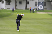 Richard McEvoy (ENG) plays his 2nd shot on the 9th hole during Sunday's storm delayed Final Round 3 of the Andalucia Valderrama Masters 2018 hosted by the Sergio Foundation, held at Real Golf de Valderrama, Sotogrande, San Roque, Spain. 21st October 2018.<br /> Picture: Eoin Clarke | Golffile<br /> <br /> <br /> All photos usage must carry mandatory copyright credit (&copy; Golffile | Eoin Clarke)