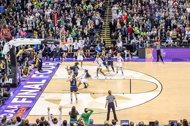 April 1, 2018; The game winning shot goes through the hoop as time expires at the Women's Basketball Final Four Championship Game, Notre Dame defeated Mississippi State 61-58. (Photo by Matt Cashore/University of Notre Dame)