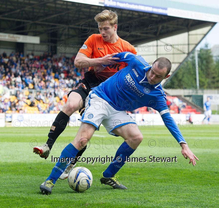 St Johnstone's Dave Mackay holds off Dundee Utd's Stuart Armstrong.