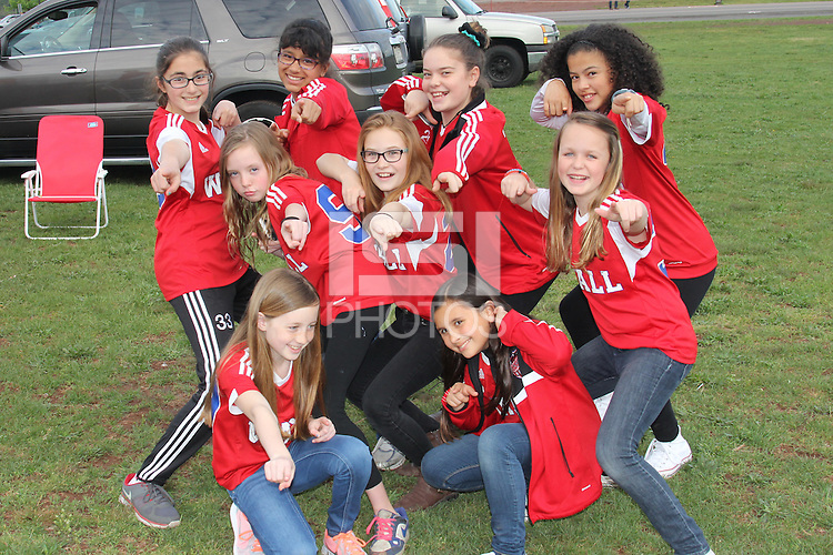 Piscataway, NJ, May 7, 2016.  Players from the Wall youth soccer team pose for a picture in the parking lot.  The Western New York Flash defeated Sky Blue FC, 2-1, in a National Women's Soccer League (NWSL) match at Yurcak Field.