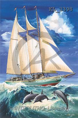 Interlitho, Luis, LANDSCAPES, paintings, sailing ship, dolphins(KL3398,#L#) Landschaften, Schiffe, paisajes, barcos, llustrations, pinturas ,puzzles