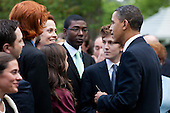 United States President Barack Obama, right, talks with actress Sigourney Weaver following remarks at an Earth Day reception in the Rose Garden at the White House in Washington, D.C., U.S., on Thursday, April 22, 2010. .Credit: Brendan Hoffman - Pool via CNP