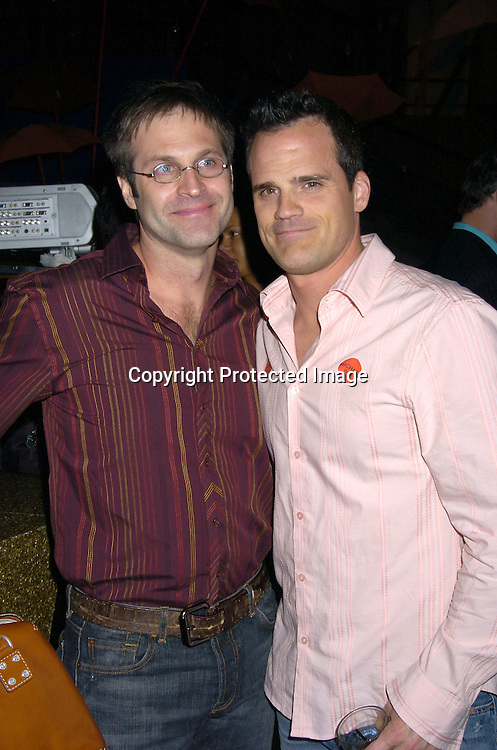 Jon Hensley and Michael Park ..at the P and G Party for The Hot Men of As The World Turns and Guiding Light on April 21, 2005 at Crobar. ..The Party was planned by David Turtura and was filmed for his TV Show on The Discovery Channel. Some of the Soap Stars helped set up the party.           Photo by Robin Platzer, Twin Images