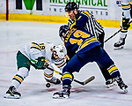 26 January 2019:  University of Vermont Catamount Forward Johnny DeRoche, a Freshman from Lynnfield, MA, takes a third period face-off against Merrimack College Warrior Michael Babcock at Gutterson Fieldhouse in Burlington, Vermont. The Catamounts defeated the Warriors 4-3 in overtime to take both games of their weekend America East conference series. Mandatory Credit: Ed Wolfstein Photo *** RAW (NEF) Image File Available ***