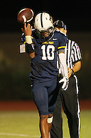 Stony Point quarterback Damian Lindley walks off the field in the fourth quarter after a failed two point conversion at Dragon Stadium.  Stony Point lost to Cedar Ridge 24-23.  (LOURDES M SHOAF for Round Rock Leader.)