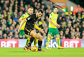 31st October 2017, Carrow Road, Norwich, England; EFL Championship football, Norwich City versus Wolverhampton Wanderers; Wolverhampton Wanderers defender Barry Douglas battles with Norwich City midfielder Tom Trybull
