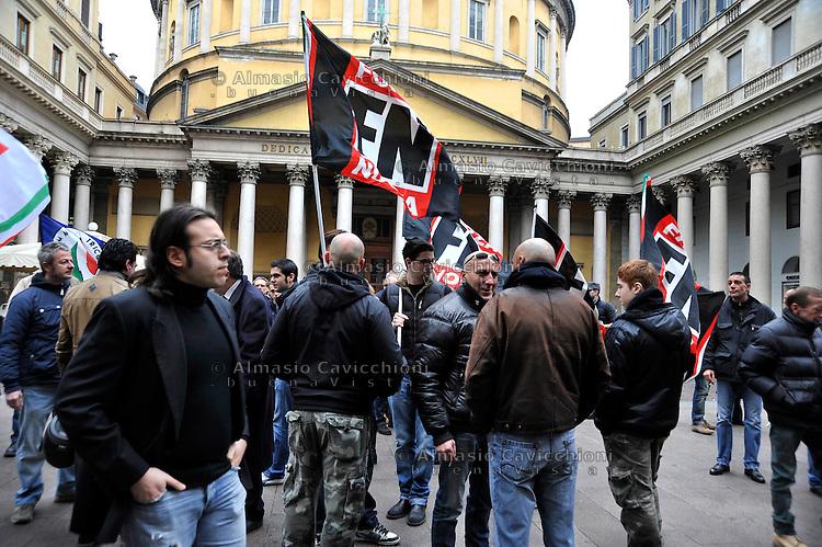 04 Mar 2012; Milano: raduno della destra, Fiamma Tricolore e Forza Nuova.Mar 04 2012; Milan: gathering the of the right wing movements Forza Nuova and Fiamma Tricolore.
