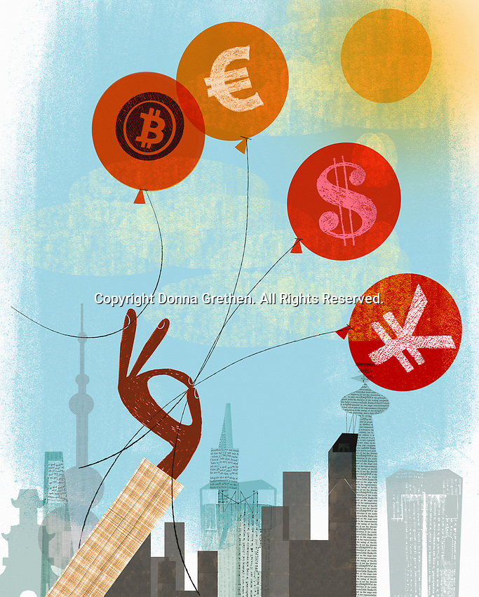 Hand holding on to euro, dollar and yen balloons rather than bitcoin