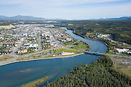 Aerial photo of the city of Whitehorse, Yukon along the Yukon River