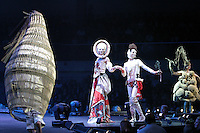 The World of Wearable Arts Awards at the TSB Bank Arena. Rachel Curtin and Billee Mutton's piece Basketcase in the Open section (left) followed by the Wellington International Award winner The Countess & Her Cousin: A Self Portrait by Lynn Johnston and Felicity Hardy, Australia and the Mainpower WOW Factor Award winner The Weaver Finch Colony by N P Jayaraj, India.