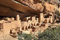 Cliff Palace, 13th century, a huge multi-storey Native American Puebloan dwelling, housing 125 people, with 23 kivas and 150 rooms, in Mesa Verde National Park, Montezuma County, Colorado, USA. The Cliff Palace is the largest cliff house in the park, possibly used for social and ceremonial purposes and is thought to be part of a larger community encompassing 60 pueblos and 600 people. It is made from sandstone blocks, mortar and wooden beams and was originally painted with earthen plasters. Mesa Verde is the largest archaeological site in America, with Native Americans inhabiting the area from 7500 BC to 13th century AD. It is listed as a UNESCO World Heritage Site. Picture by Manuel Cohen