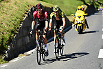 Dylan van Baarle (NED) Team Ineos and Jack Haig (AUS) Mitchelton-Scott attack from the breakaway group during Stage 8 of the Criterium du Dauphine 2019, running 113.5km from Cluses to Champery, Switzerland. 16th June 2019.<br /> Picture: ASO/Alex Broadway | Cyclefile<br /> All photos usage must carry mandatory copyright credit (© Cyclefile | ASO/Alex Broadway)