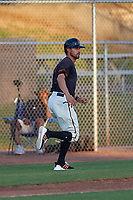 AZL Giants Black manager Michael Johnson (1) coaches third base during an Arizona League game against the AZL Angels at the Giants Baseball Complex on June 21, 2019 in Scottsdale, Arizona. AZL Angels defeated AZL Giants Black 6-3. (Zachary Lucy/Four Seam Images)