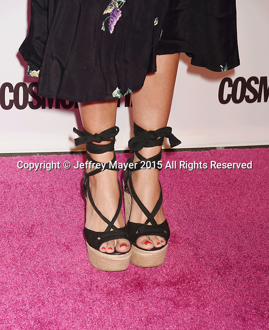 WEST HOLLYWOOD, CA - OCTOBER 12: Actress Emily Osment, shoe detail, at Cosmopolitan Magazine's 50th Birthday Celebration at Ysabel on October 12, 2015 in West Hollywood, California.