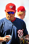 21 June 2010: Washington Nationals' catcher Ivan Rodriguez warms up prior to a game against the Kansas City Royals at Nationals Park in Washington, DC. The Nationals edged out the Royals 2-1 in the first game of their 3-game interleague series, snapping a 6-game losing streak. Mandatory Credit: Ed Wolfstein Photo