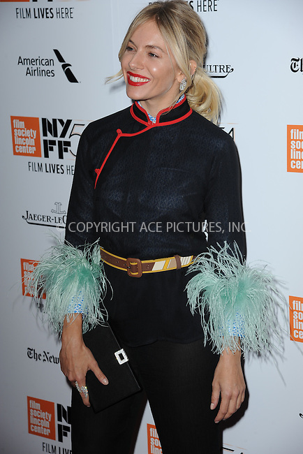 www.acepixs.com<br /> October 15, 2016  New York City<br /> <br /> Sienna Miller arriving to the 54th New York Film Festival  'The Lost City of Z' premiere on October 15, 2016 in New York City.<br /> <br /> <br /> Credit: Kristin Callahan/ACE Pictures<br /> <br /> <br /> Tel: 646 769 0430<br /> Email: info@acepixs.com