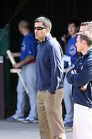 Jason McLeod, General Manager of the Chicago Cubs, observes during the second day of spring training workouts for pitchers and catchers at Fitch Park in Mesa, Arizona on February 20, 2012. (Bill Mitchell)