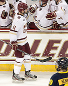 Chris Calnan (BC - 11) - The Boston College Eagles defeated the visiting Merrimack College Warriors 2-1 on Wednesday, January 21, 2015, at Kelley Rink in Conte Forum in Chestnut Hill, Massachusetts.