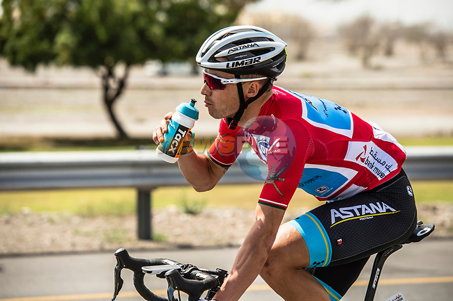 Race leader Alexey Lutsenko (KAZ) Astana Pro Team during Stage 6 of the 10th Tour of Oman 2019, running 135.5km from Al Mouj Muscat to Matrah Corniche, Oman. 21st February 2019.<br /> Picture: ASO/Kåre Dehlie Thorstad | Cyclefile<br /> All photos usage must carry mandatory copyright credit (© Cyclefile | ASO/Kåre Dehlie Thorstad)