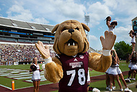 Bully mascot during Maroon and White football game. <br />  (photo by Lizzy Powers / &copy; Mississippi State University)