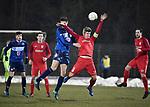 2018-03-03 / Voetbal / Seizoen 2017-2018 / FC Turnhout - Vosselaar / Jelle Schijvenaars (l. Turnhout) met Nick Havermans<br /> <br /> ,Foto: Mpics.be