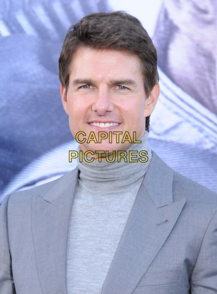 "Tom Cruise .""Oblivion"" Los Angeles Premiere held at the Dolby Theatre, Hollywood, California, USA..April 10th, 2013                                                                    .headshot portrait grey gray turtleneck polo neck high collar suit jacket .CAP/DVS.©DVS/Capital Pictures."
