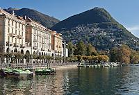 Switzerland, Ticino, Lugano at Lago Lugano, at background Castagnola and Monte Bre | Schweiz, Tessin, Lugano am Luganer See, im Hintergrund klebt Castagnola am Monte Bre