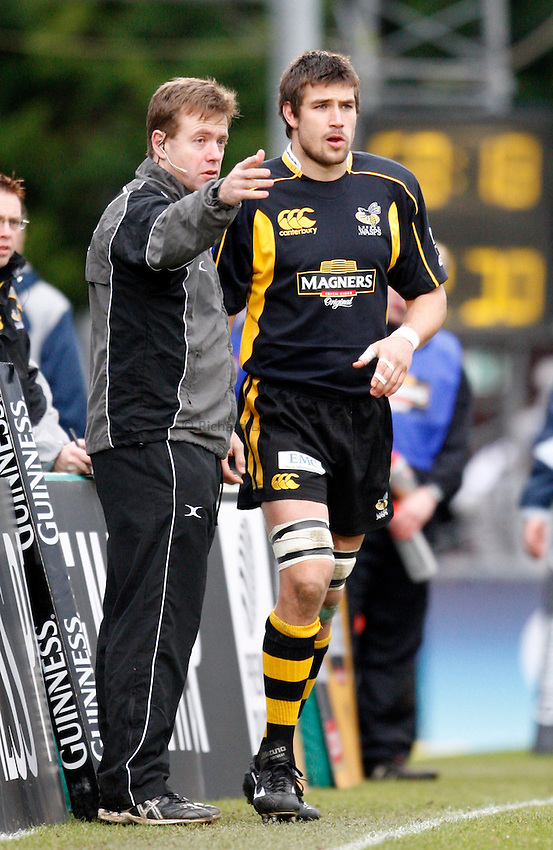 Photo: Richard Lane/Richard Lane Photography. .London Wasps v Bristol Rugby. Guinness Premiership. 23/02/3008. Wasps' Matt Corker comes on as a substitute.