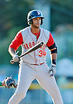 18 August 2012: Brooklyn Cyclones infielder Alexander Sanchez in action against the Vermont Lake Monsters at Centennial Field in Burlington, Vermont. The Lake Monsters defeated the Cyclones 4-1 in NY Penn League action. Mandatory Credit: Ed Wolfstein Photo