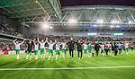 Stockholm 2014-09-28 Fotboll Superettan Hammarby IF - IK Sirius :  <br /> Hammarbys spelare jublar med Hammarbys supportrar efter matchen<br /> (Foto: Kenta J&ouml;nsson) Nyckelord:  Superettan Tele2 Arena Hammarby HIF Bajen Sirius IKS supporter fans publik supporters jubel gl&auml;dje lycka glad happy