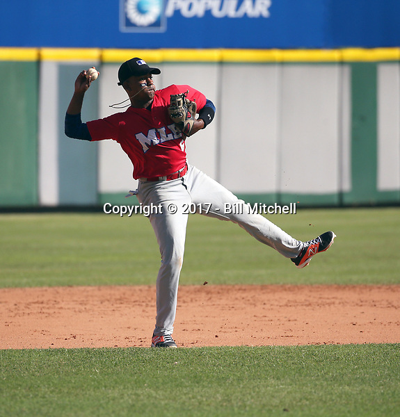 Junior Sanquintin participates in the MLB International Showcase at Estadio Quisqeya on February 22-23, 2017 in Santo Domingo, Dominican Republic.