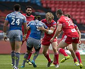June 4th 2017, AJ Bell Stadium, Salford, Greater Manchester, England;  Rugby Super League Salford Red Devils versus Wakefield Trinity; Ben Jones-Bishop of Wakefield Trinity is tackled by Logan Tomkins of Salford