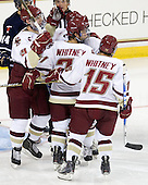 Chris Kreider (BC - 19), Steven Whitney (BC - 21), Joe Whitney (BC - 15) - The Boston College Eagles defeated the visiting University of Toronto Varsity Blues 8-0 in an exhibition game on Sunday afternoon, October 3, 2010, at Conte Forum in Chestnut Hill, MA.